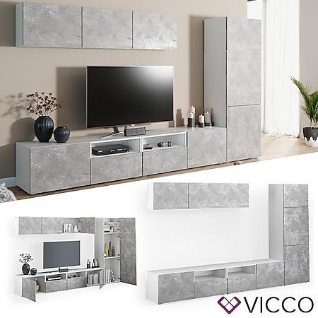 VICCO Wohnwand 7er Set COMPO Lowboard Sideboard Schrank Regal weiß Beton - Bild 1