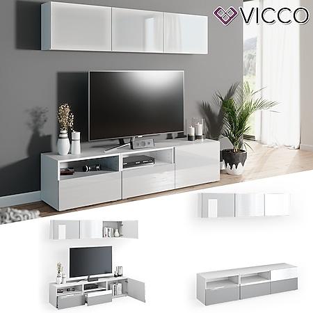 VICCO Wohnwand 5er Set COMPO Lowboard Sideboard Schrank Regal weiß hochglanz - Bild 1