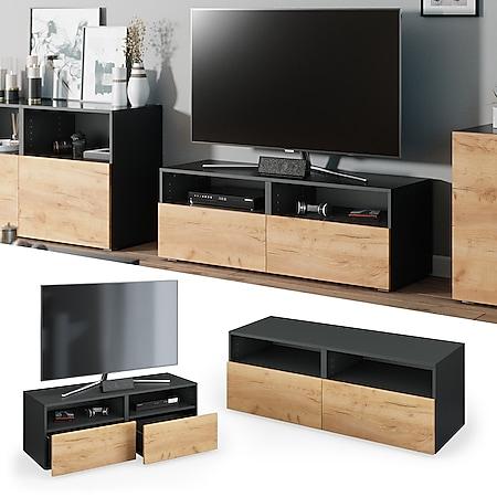 Vicco TV Lowboard Compo Sideboard Fernsehtisch Kommode Schrank anthrazit eiche - Bild 1