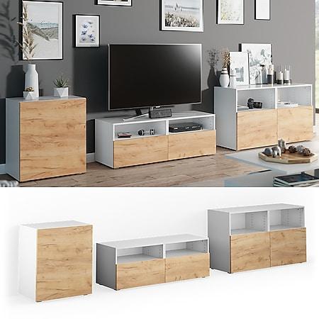 VICCO Wohnwand 3er Set COMPO Lowboard Sideboard Schrank Regal Schranksystem - Bild 1