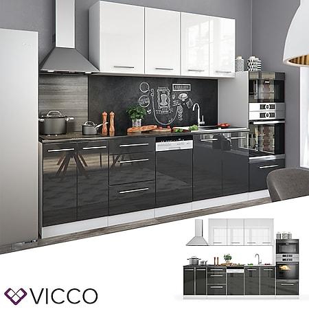 Vicco Küche Fame-Line Küchenzeile Küchenblock Einbauküche 295cm Anthrazit Weiß Hochglanz - Bild 1