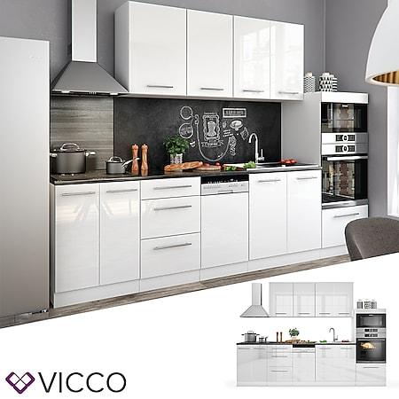 Vicco Küche Fame-Line Küchenzeile Küchenblock Einbauküche 295cm Weiß Hochglanz - Bild 1