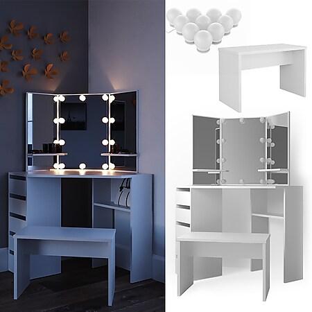 Vicco Eckschminktisch Arielle Kosmetiktisch Frisiertisch Schminktisch Weiß inklusive Sitzbank und LED-Lichterkette - Bild 1