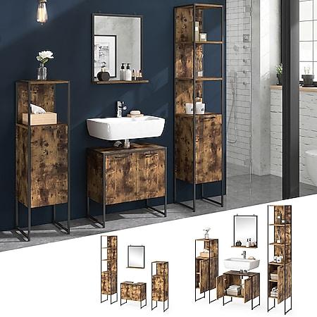 Vicco Loft Badmöbel Set Fyrk Vintage Badspiegel Badschränke Waschtischunterschrank - Bild 1