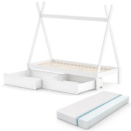 VitaliSpa Kinderbett Tipi Hausbett Weiß Bett Kinderhaus Zelt Bett Schublade 90x200cm inklusive Schubladenset und Matratze 90x200 cm - Bild 1