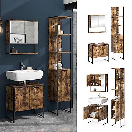 Vicco Loft Badmöbel Set Fyrk Vintage Spiegelschrank Hochschrank Waschtischunterschrank - Bild 1