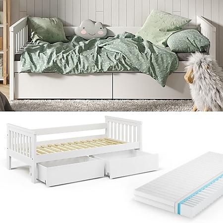 VitaliSpa Tagesbett Luna Kinderbett 90x200cm mit Matratze Schubladen Jugendbett - Bild 1