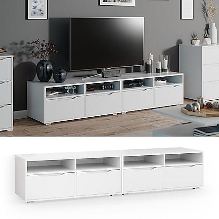 Vicco Lowboard Ruben weiß 200cm TV-Board Fernsehschrank TV-Schrank Regal Tisch - Bild 1