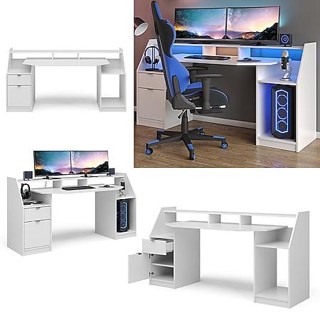 Vicco Computertisch Joel Groß PC-Tisch Weiß Gamingtisch Schreibtisch Büromöbel - Bild 1