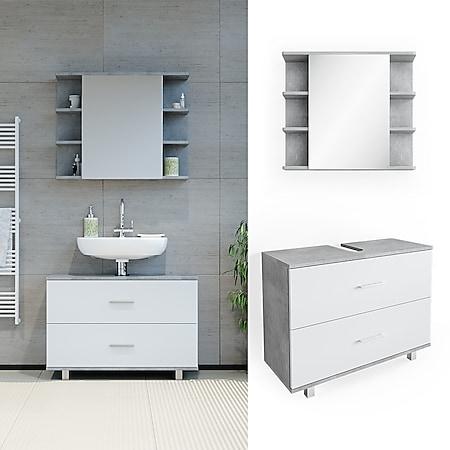 VICCO Badmöbel Set ILIAS Weiß Beton Bad Spiegel Unterschrank Badschrank - Bild 1