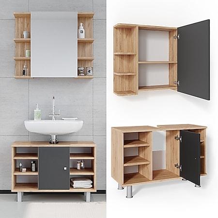 Vicco Badmöbel Set Badezimmer Möbel Fynn Spiegelschrank Waschbeckenunterschrank - Bild 1