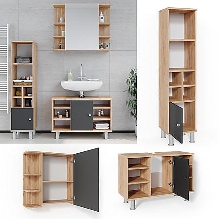 Vicco Badmöbel Set 3tlg Fynn Spiegelschrank Waschbeckenunterschrank Hochschrank - Bild 1