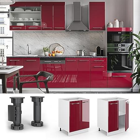 VICCO Unterschrank 60 cm Bordeaux Hochglanz Küchenschrank Hängeschrank Küchenzeile Fame-Line - Bild 1