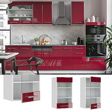 VICCO Hängeglasschrank 40 cm Bordeaux Hochglanz Küchenschrank Hängeschrank Küchenzeile Fame-Line - Bild 1