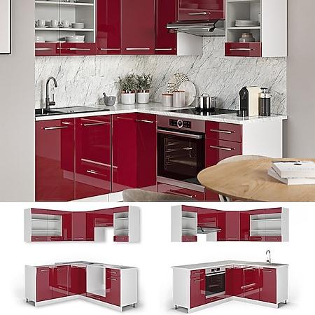 Vicco Eckküche Küchenzeile Küchenblock 160x180cm Fame-Line Winkelküche Hochglanz - Bild 1