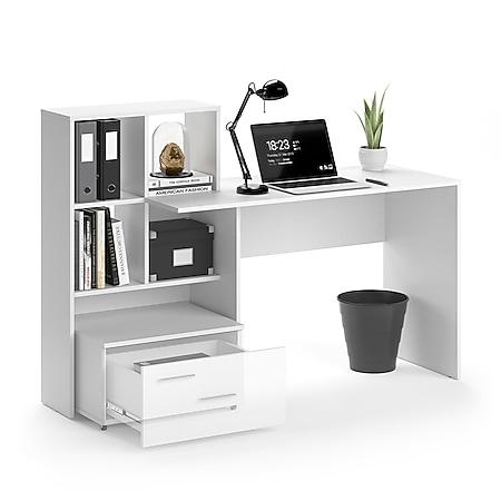 VICCO Schreibtisch LORIS Weiß Computer Bürotisch PC Regal Schublade Arbeitstisch - Bild 1