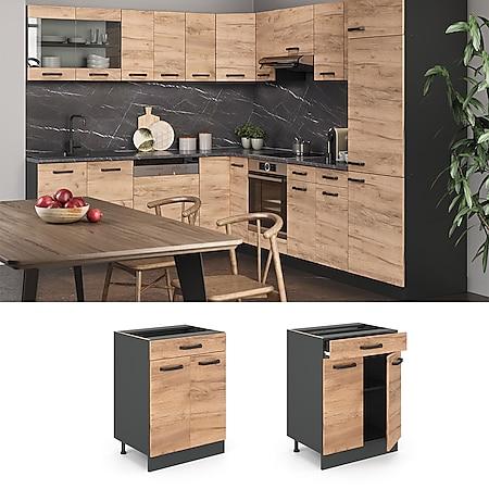 VICCO Küchenschrank Unterschrank Schubunterschrank 60 cm R-Line Anthrazit - Bild 1