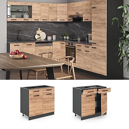 VICCO Küchenschrank Unterschrank Schubunterschrank 80 cm R-Line Anthrazit - Bild 1