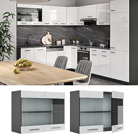 VICCO Küchenschrank Hängeschrank Hängeglasschrank 80 cm R-Line Anthrazit - Bild 1