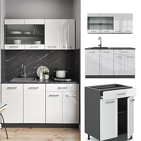 VICCO Küchenzeile R-LINE SINGLE Einbauküche 140 cm Küche Küchenblock Singleküche Anthrazit Weiß Hochglanz - Bild 1
