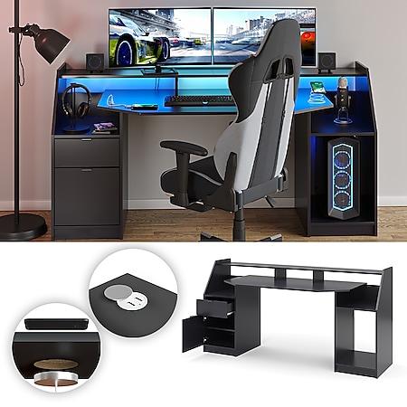 Vicco Computertisch Joel PC-Tisch Schwarz Gamingtisch Schreibtisch Gamertisch mit QI- und USB-Ladestation - Bild 1