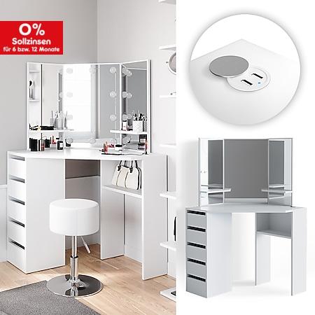Vicco Eckschminktisch Arielle Kosmetiktisch Schminktisch Weiß USB-Ladestation USB-Hub - Bild 1