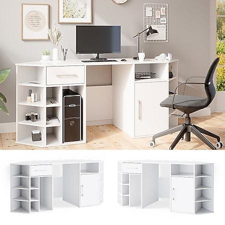 Schreibtisch HOUSTON Arbeitstisch Weiß Bürotisch PC Tisch Schublade Vicco - Bild 1
