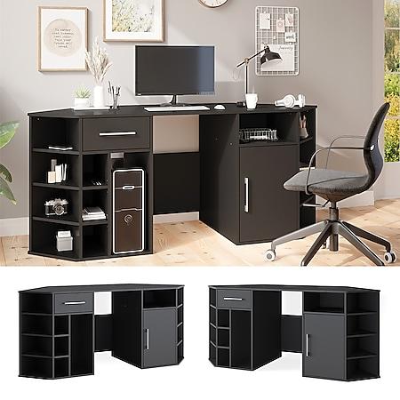 Schreibtisch HOUSTON Arbeitstisch Schwarz Bürotisch PC Tisch Schublade Vicco - Bild 1