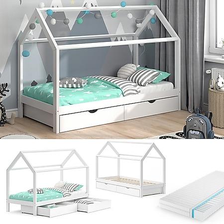 VITALISPA Kinderbett Hausbett Schubladen Bett Holz Kinderhaus weiß 90x200 cm + Matratze - Bild 1