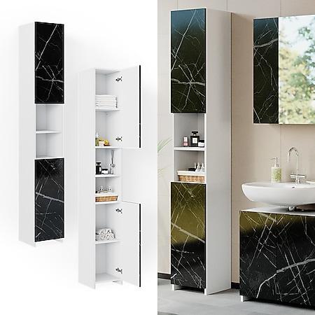 Vicco Badschrank Hochschrank Badezimmerschrank Nero Marmoroptik Regal Schrank - Bild 1