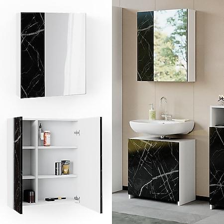 Vicco Spiegelschrank Badspiegel Badschrank Nero Marmoroptik Badezimmerspiegel - Bild 1