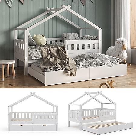 VitaliSpa Design Kinderbett 160x80 Babybett Hausbett Gästebett Lattenrost weiß - Bild 1
