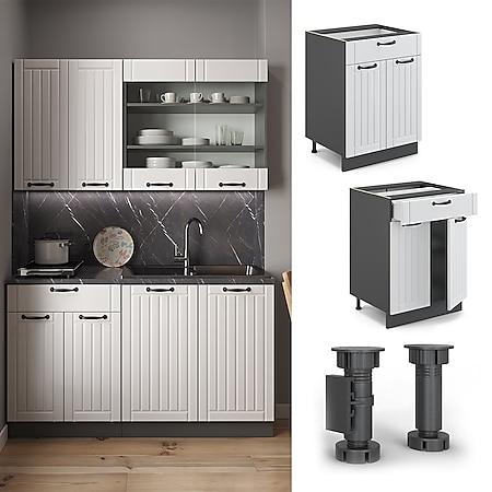 Vicco Schubunterschrank 60 cm FAME Line Küchenschrank Küchenzeile Landhaus Weiß Anthrazit - Bild 1