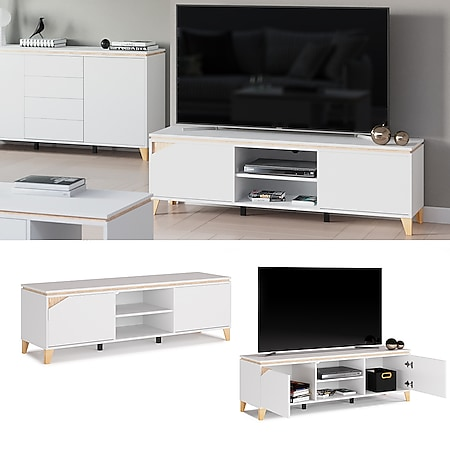 Vicco Lowboard TV-Board Sideboard Luisa weiß Fernsehschrank TV-Schrank 160x45cm - Bild 1