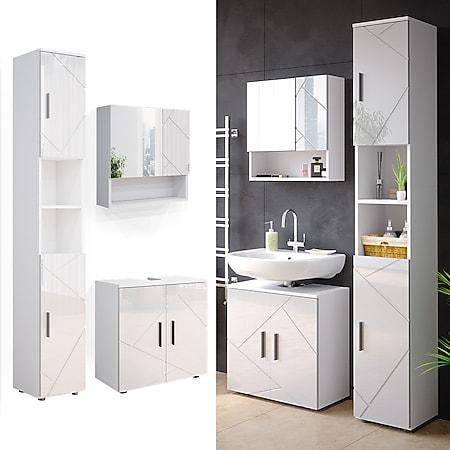 Vicco Badmöbel Set Spiegelschrank Hochschrank Waschtischunterschrank Irma Weiss - Bild 1