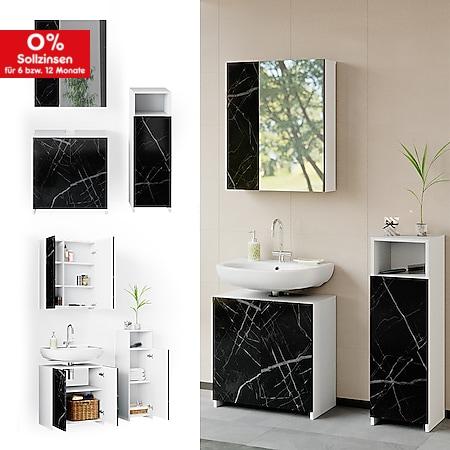 Vicco Badmöbel Set Unterschrank Spiegelschrank Midischrank Nero Marmoroptik 3tlg - Bild 1