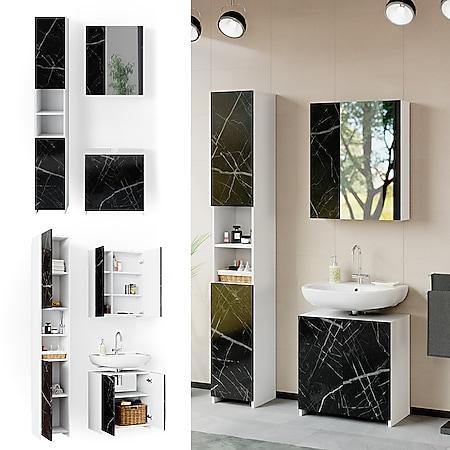 Vicco Badmöbel Set Unterschrank Spiegelschrank Hochschrank Nero Marmoroptik 3tlg - Bild 1