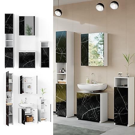 Vicco Badmöbel Set Unterschrank Spiegelschrank Hochschrank Nero Marmoroptik 4tlg - Bild 1