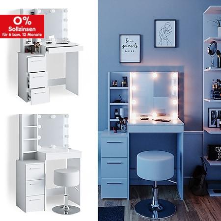 Vicco Schminktisch Frisiertisch Schminkkommode Meryl + LED-Beleuchtung + Hocker - Bild 1