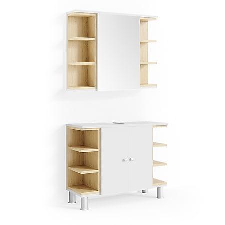 Vicco Badmöbel Set AQUIS Weiß Eiche Spiegel Waschtisch Unterschrank Badezimmer - Bild 1