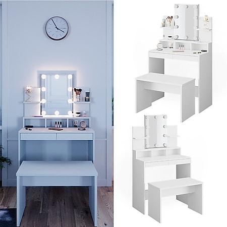 Vicco Schminktisch Frisiertisch Schminkkommode Ania mit LED Beleuchtung Sitzbank - Bild 1
