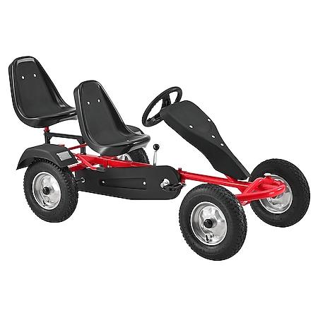 ArtSport 2-Sitz GoKart mit höhenverstellbarem Lenkrad, Schalensitzen, Luftreifen & Stahl-Felgen rot - Bild 1