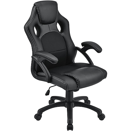 Juskys Racing Schreibtischstuhl Montreal ergonomisch Bürostuhl PC Gaming Stuhl – schwarz - Bild 1