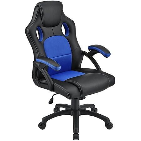 Juskys Racing Schreibtischstuhl Montreal ergonomisch Bürostuhl PC Gaming Stuhl – blau - Bild 1