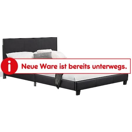 Juskys Polsterbett Bolonia 160x200 cm - Bett mit Lattenrost – Doppelbett schwarz - Bild 1