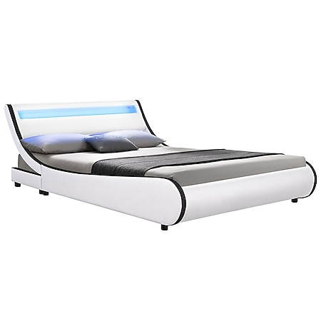 Juskys Polsterbett Valencia 140x200 cm - Bett mit Lattenrost & LED Beleuchtung – Jugendbett weiß - Bild 1