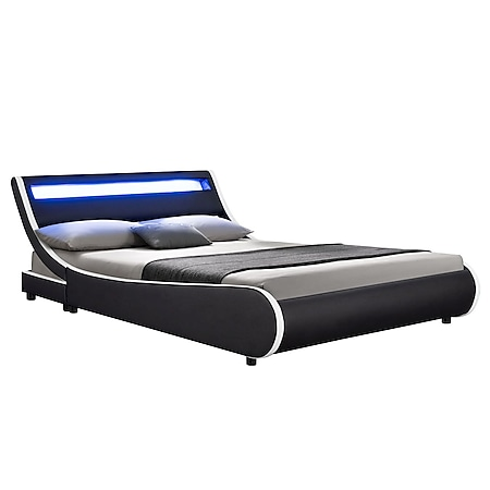 Juskys Polsterbett Valencia 180x200 cm Bett mit Lattenrost & LED Beleuchtung Doppelbett schwarz - Bild 1