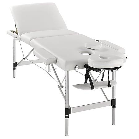 Juskys Massageliege 3 Zonen klappbar – Aluminium Massagetisch höhenverstellbar - 180x60 cm weiß - Bild 1