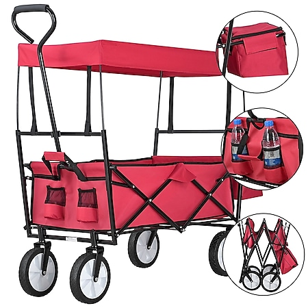 Juskys Bollerwagen faltbar mit Dach & Tasche | Gummiräder | Stoff schmutzabweisend | Handwagen rot - Bild 1
