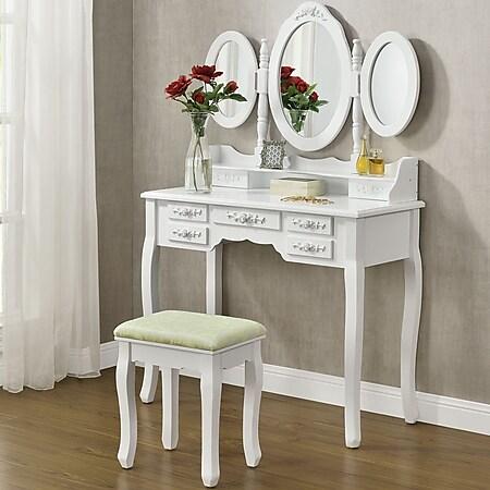 Juskys Schminktisch Elsa mit Spiegel, Hocker und 7 Schubladen – weiß – Kosmetiktisch aus MDF Holz - Bild 1